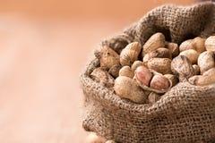 Erdnuss im Sack auf Holz Lizenzfreie Stockfotos