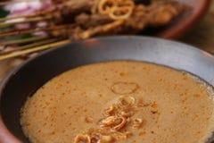 Erdnuss-Soße für Satay Stockfoto