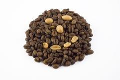 Erdnuss- und Kaffeebohnesmiley Lizenzfreie Stockfotos