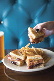 Erdnussbutter-Club Sandwich Stockfotos