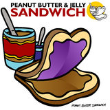 Erdnussbutter-Gelee-Sandwich Stockfoto