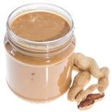 Erdnussbutter lokalisiert auf Weiß Stockfotografie
