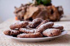 Erdnussbutter Plätzchen und Nutella Stockfotos