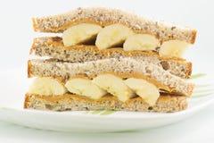 Erdnussbutter- und Bananensandwich Stockfotografie
