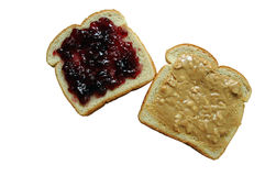 Erdnussbutter und Gelee-Sandwich - getrennt worden Lizenzfreies Stockfoto