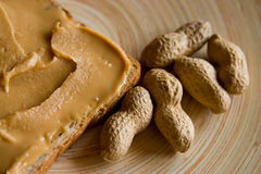Erdnussbuttertoast Lizenzfreies Stockfoto