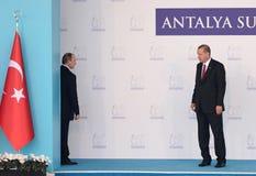 Erdogan en de laatste openbare vergadering van Putin alvorens Russische straal inciddent te verslaan Royalty-vrije Stock Foto