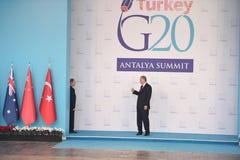 Erdogan och Putins sista offentligt möte, innan att besegra den inciddent ryska strålen Royaltyfria Foton