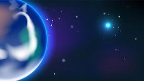 Erdplanet im Universumvektorhintergrund Lizenzfreies Stockfoto