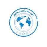 Erdplaneten-Gesundheits-Welttagesglobaler Feiertags-Stempel Stockfotografie
