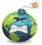 Erdplaneten-warnender Bomben-Charakter Stockbild