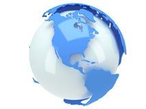 Erdplanetenkugel. 3D übertragen. Amerika-Ansicht. Stockbild