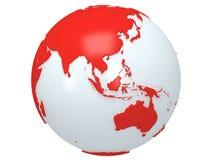 Erdplanetenkugel. 3D übertragen. China-Ansicht. Lizenzfreies Stockfoto