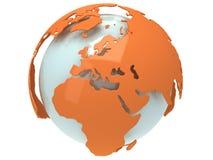 Erdplanetenkugel. 3D übertragen. Europa-Ansicht. Lizenzfreies Stockfoto