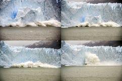 Erdrutsch auf Perito Moreno Glacier, Argentinien Stockbild