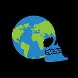 Erdschädel Kopf des Skeletts ist Planet Kontinente und Ozeane Lizenzfreie Stockbilder