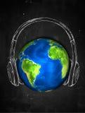 Erdskizzen-Kopfhörermusik Hintergrund stock abbildung