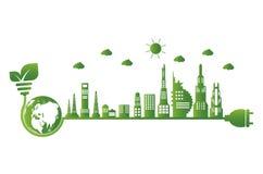 Erdsymbol mit Grünblättern herum Ökologie Grüne Städte helfen der Welt mit umweltfreundlichen Konzeptideen lizenzfreie abbildung