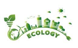 Erdsymbol mit Grünblättern herum Ökologie Grüne Städte helfen der Welt mit umweltfreundlichen Konzeptideen vektor abbildung