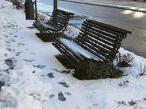 Snowy road with benches royalty free stock photo