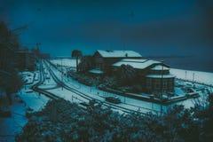 Ereaga-Strand im Winter mit Schnee Stockbild