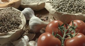 Ereals del ¡de Ð, tomates, calabaza, lenteja metrajes