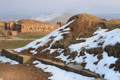 Erebuni-Festung (Armenien) im Winter lizenzfreie stockbilder