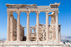 Erechteion Temple Acropolis Athens Greece. The Erechteion temple ruins with its ionic order columns, Acropolis, Athens, Greece Royalty Free Stock Photos