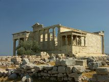 Erechteion Temple with Caryatids Stock Images