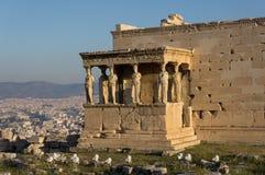 Erechteumtempel en Kariatiden, Akropolis, Athene, Griekenland Royalty-vrije Stock Foto
