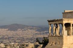 Erechteumtempel en Kariatiden, Akropolis, Athene, Griekenland Royalty-vrije Stock Fotografie
