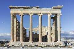 Erechtheion在雅典卫城的北边一个古希腊寺庙 免版税图库摄影