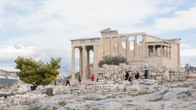Erechtheion на акрополе в Афинах - Греции Стоковое Фото