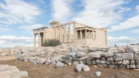 Erechtheion на акрополе в Афинах - Греции Стоковая Фотография RF