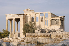 Erechtheion -一部分的上城在雅典 免版税库存图片