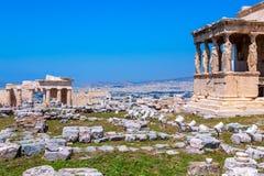 Erechtheion, acrópole antiga fotografia de stock royalty free