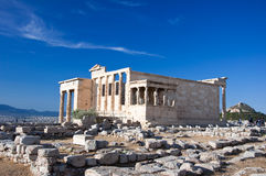 The Erechtheion on Acropolis of Athens in Greece. Royalty Free Stock Photography