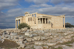 Erechtheion Acropolis. Cariathides of the erechtheion acropolis, Athens Royalty Free Stock Images