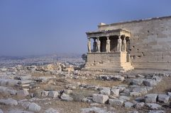 The Erechtheion on the Acropolis with the porch of the Caryatids. The southern side of the Erechtheion, built in ca. 420 B.C. on the Acropolis of Athens, Greece royalty free stock photography