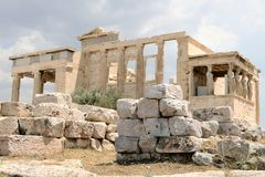 Erechtheion, alter Tempel Athens, Griechenland Lizenzfreies Stockfoto