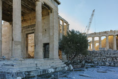 The Erechtheion an ancient Greek temple on the north side of the Acropolis of Athens. Attica, Greece royalty free stock photos