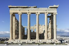 The Erechtheion an ancient Greek temple on the north side of the Acropolis of Athens Royalty Free Stock Photography