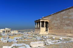 Erechtheion - Athens. The Erechtheion with the Porch of the Caryatids in Anthens' acropolis Royalty Free Stock Image