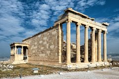 Erechtheion with Caryatid Porch on Acropolis in Athens stock images