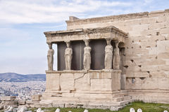 Erechtheion (Erechtheum). Acropolis of Athens. The Erechtheion is an ancient Greek temple on the north side of the Acropolis of Athens in Greece which was Royalty Free Stock Images