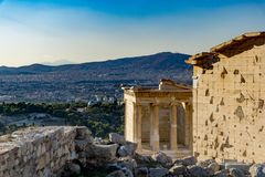 The Erechtheion or Erechtheum is an ancient Greek temple on the Acropolis of Athens in Greece. Which was dedicated to both Athena and Poseidon Royalty Free Stock Photography