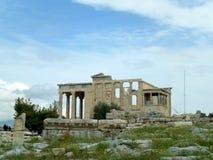 Erechtheion of Erechtheum, een Oude Griekse Tempel op de Akropolis van Athene Stock Foto