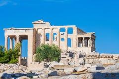 Erechtheion i akropolen av Aten, Grekland Arkivbilder