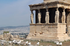 Erechtheion, l'acropoli di Atene Immagini Stock