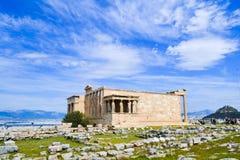 Erechtheion na acrópole de Athen Fotografia de Stock